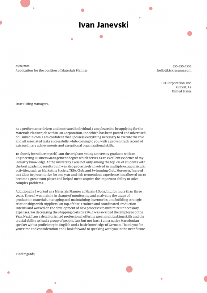 Materials Planner Cover Letter Example