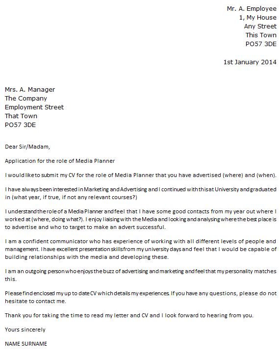 Media Planner Cover Letter Example
