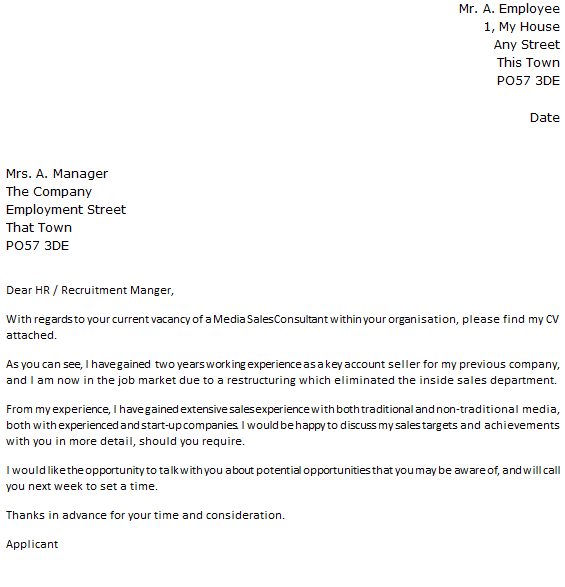 Media Sales Consultant Cover Letter Example
