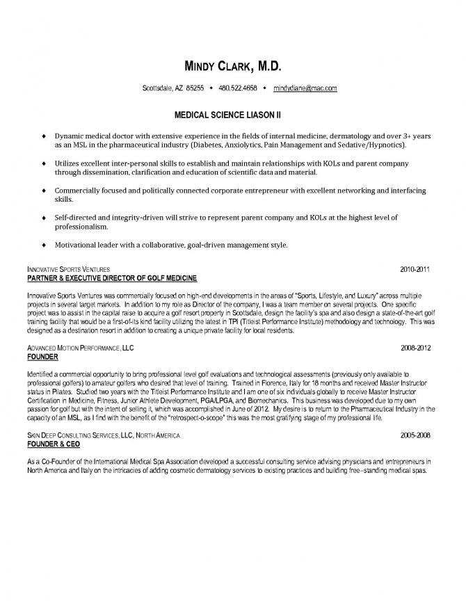 Medical Science Liaison Resume Cover Letter Template Examples