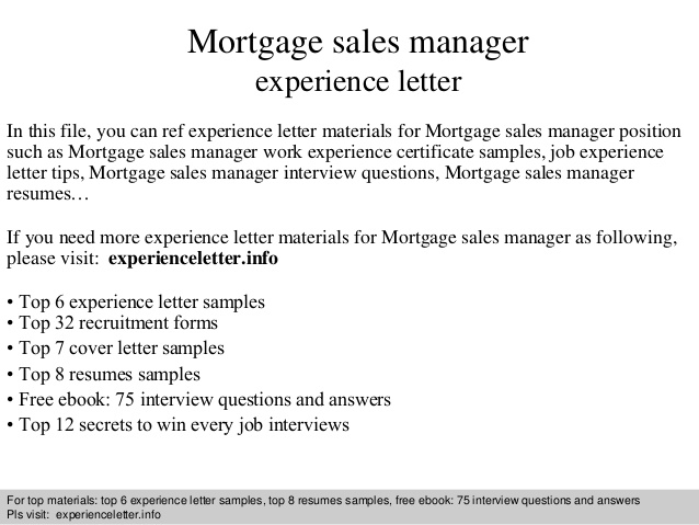 Mortgage Sales Manager Experience Letter