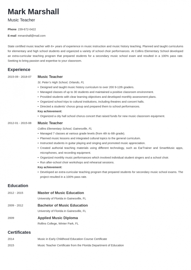 Music Teacher Resume Sample   Writing Guide  Tips