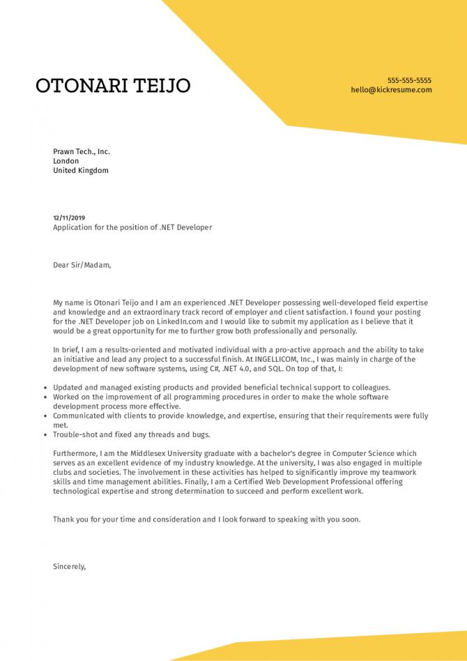 Net Developer Cover Letter Example