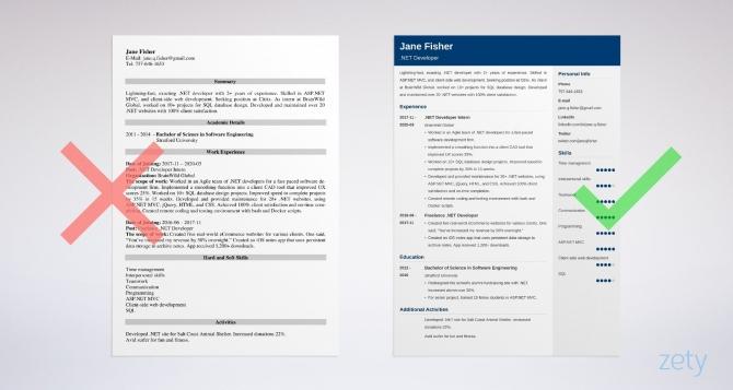 Net Developer Resume Samples Experienced   Entry Level
