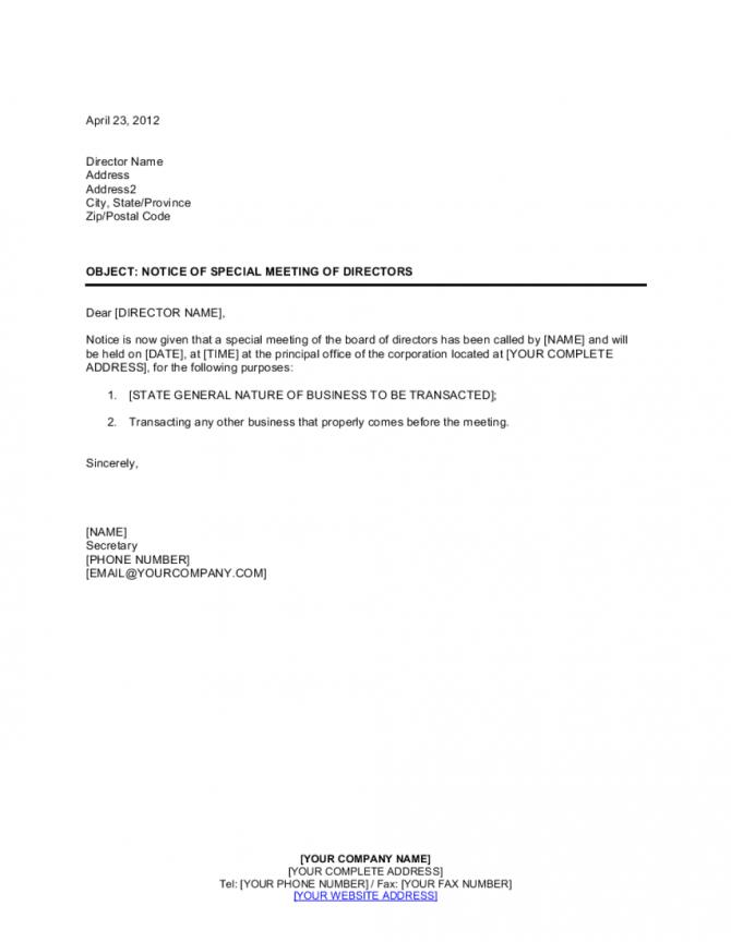 Notice Of Meeting Of Directors Special Template
