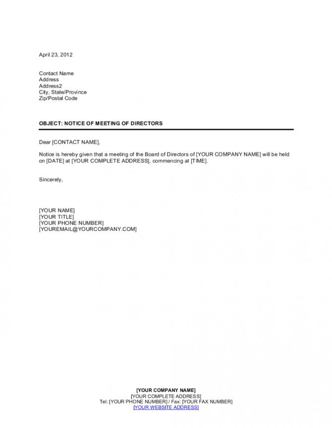Notice Of Meeting Of Directors Template