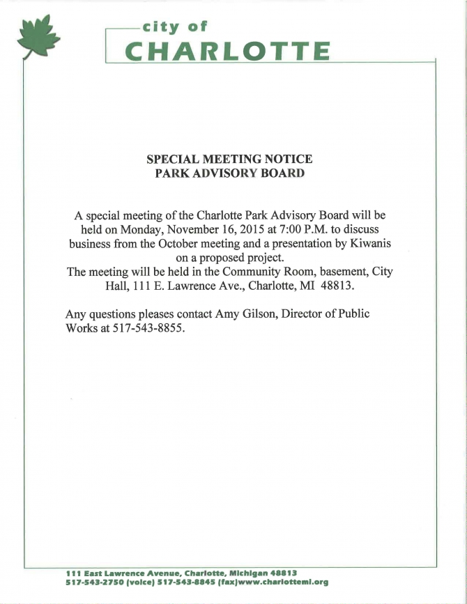 Notice Of Special Meeting For The Park Advisory Board  Monday