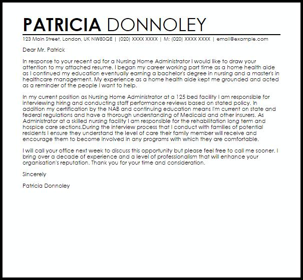 Nursing Home Administrator Cover Letter Sample