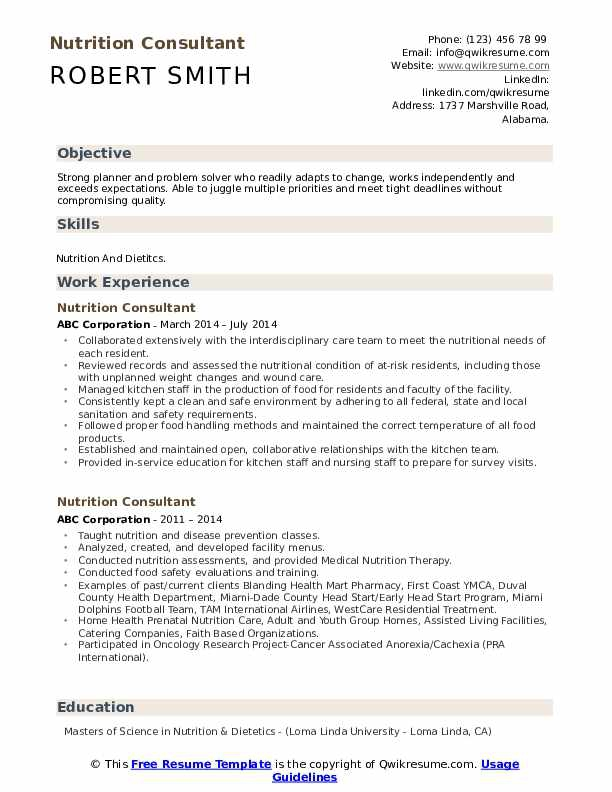 Nutrition Consultant Resume Samples