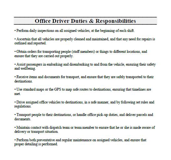Office Driver Job Description And Duties
