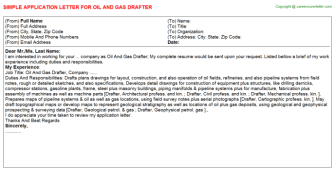 Oil And Gas Drafter Application Letters