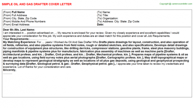Oil And Gas Drafter Cover Letter