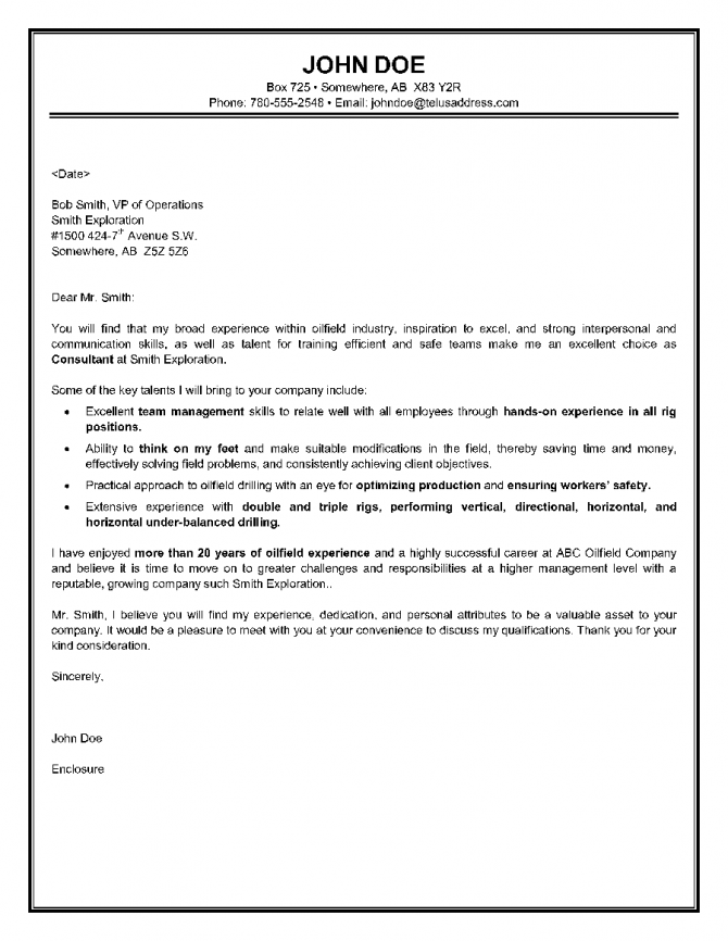 Oilfield Consultant Cover Letter