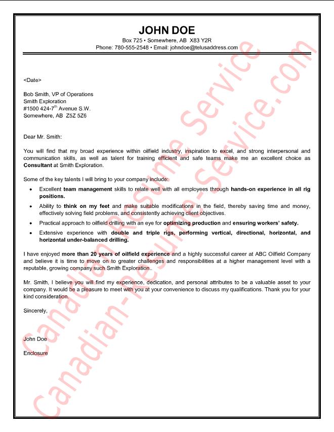 Oilfield Consultant Cover Letter Sample