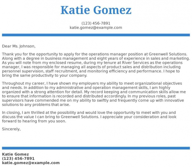 Operations Manager Cover Letter Examples  Samples   Templates
