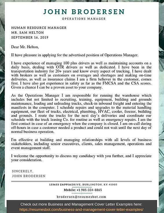 Operations Manager Cover Letter Samples   Templates Pdfword