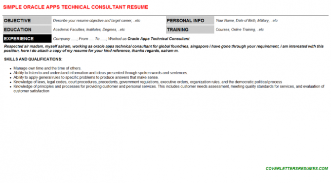 Oracle Apps Technical Consultant Job Cover Letter   Resume