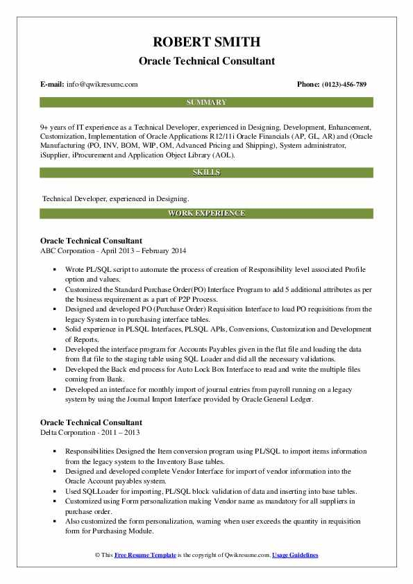 Oracle Technical Consultant Resume Samples