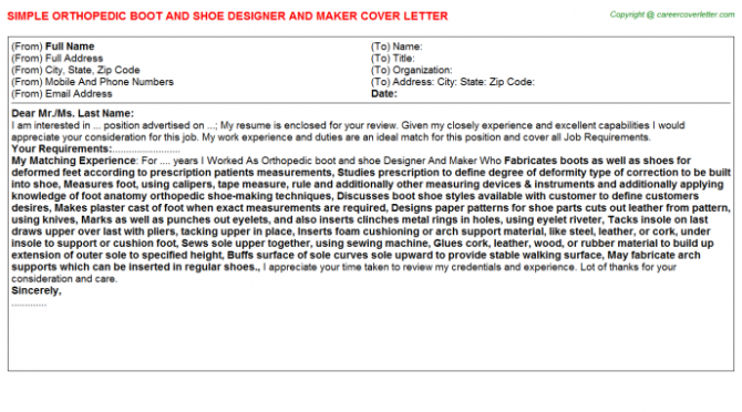 Orthopedic Boot And Shoe Designer And Maker Cover Letter