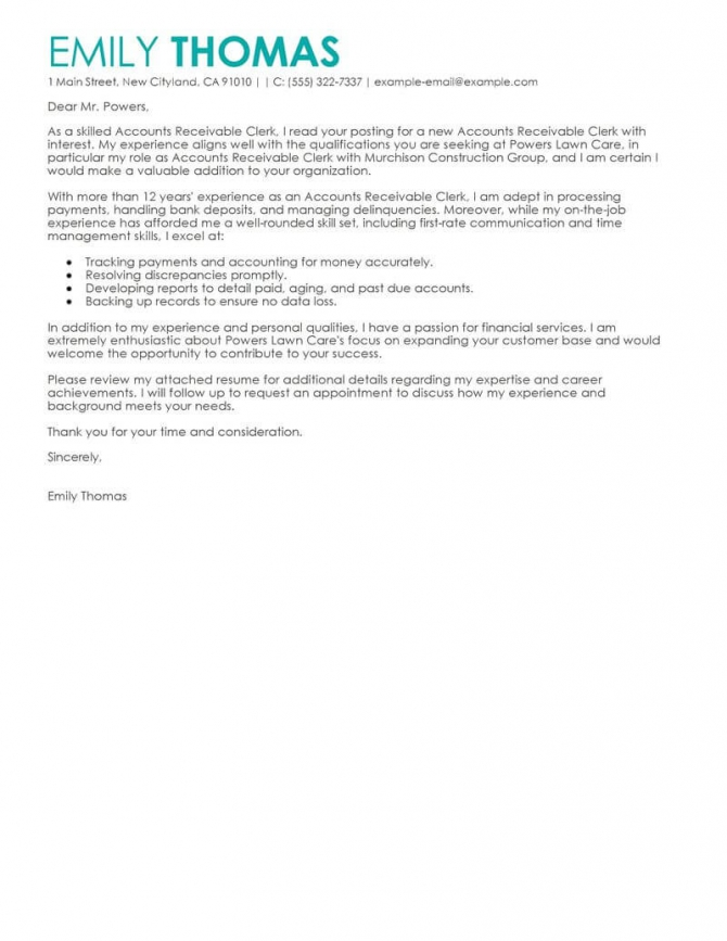 Outstanding Accounts Receivable Clerk Cover Letter Examples