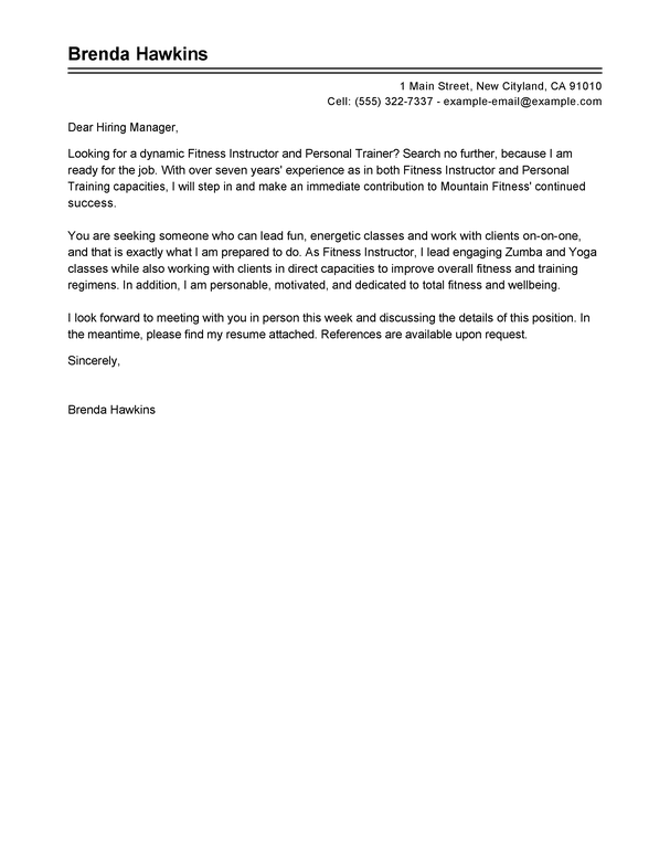 Outstanding Fitness And Personal Trainer Cover Letter Examples