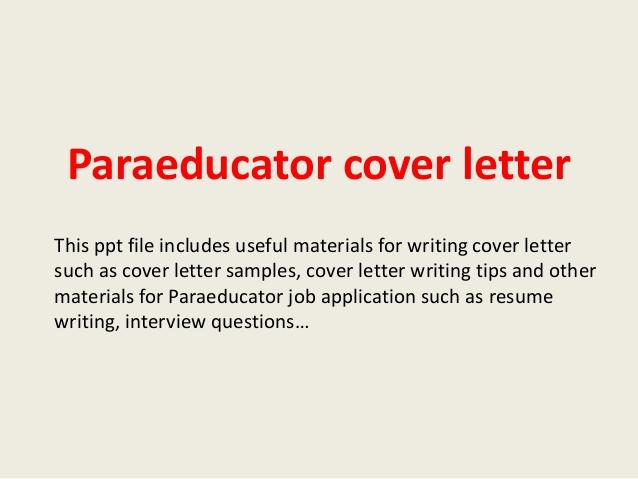 Paraeducator Cover Letter