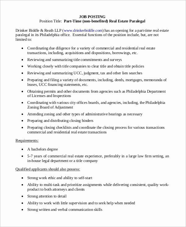 Paralegal And Legal Assistant Job Description