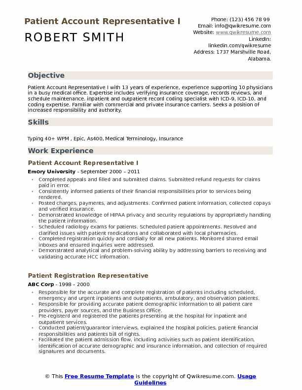 Patient Account Representative Resume Samples