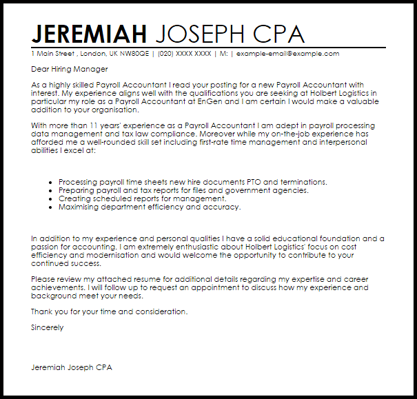 Payroll Accountant Cover Letter Sample