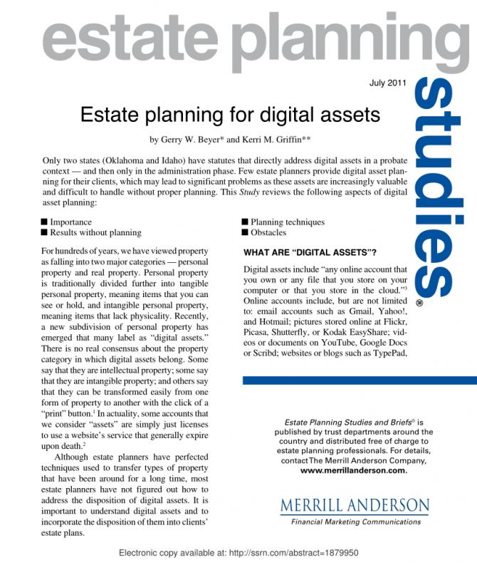 Pdf Estate Planning For Digital Assets