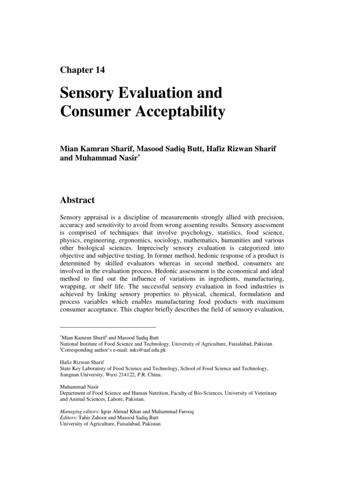 Pdf Sensory Evaluation And Consumer Acceptability
