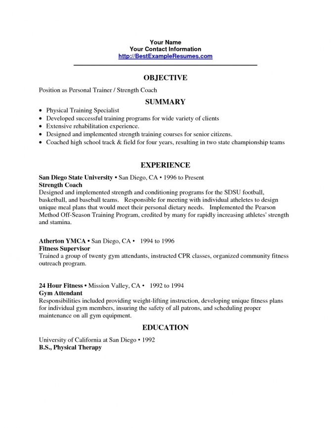 Personal Trainer Resume Objective Trainer Resume Sample Gallery