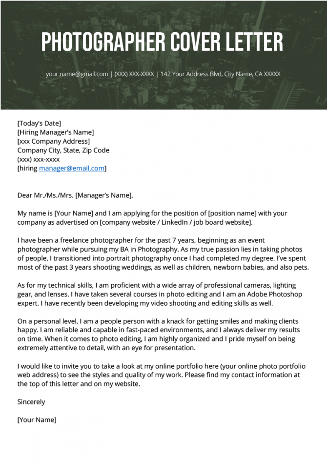 Photographer Cover Letter Example   Writing Tips