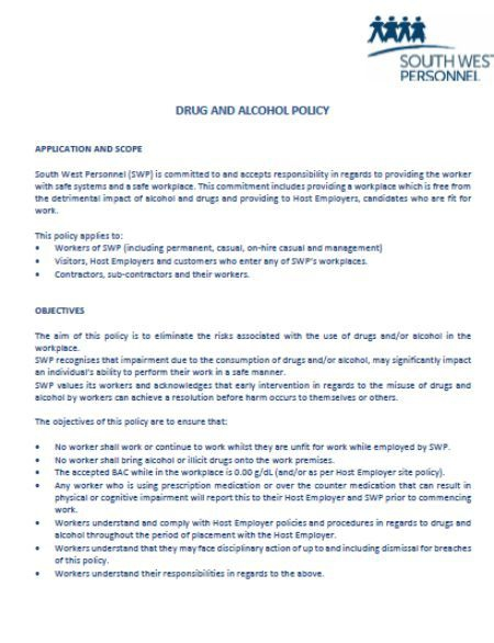Pin On Drug And Alcohol Policy Template