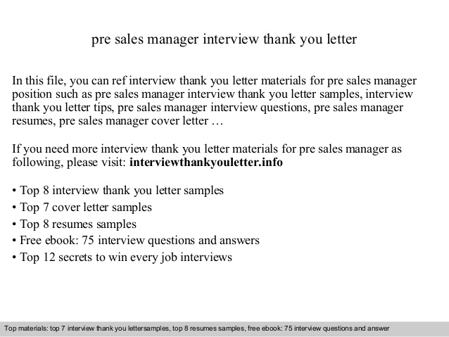 Pre Sales Manager
