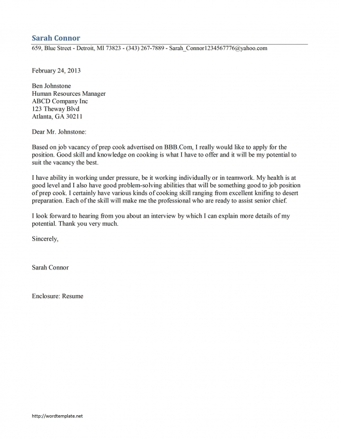 Prep Cook Cover Letter Template