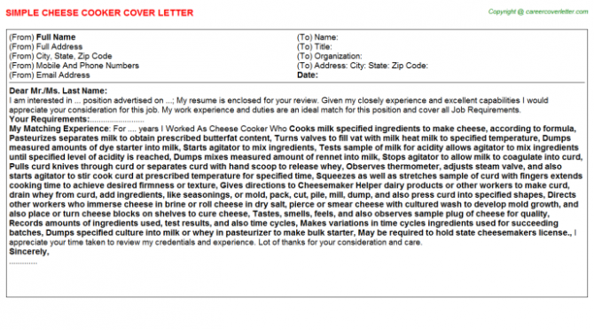 Preschool Child Care Cook Wanted Cover Letters