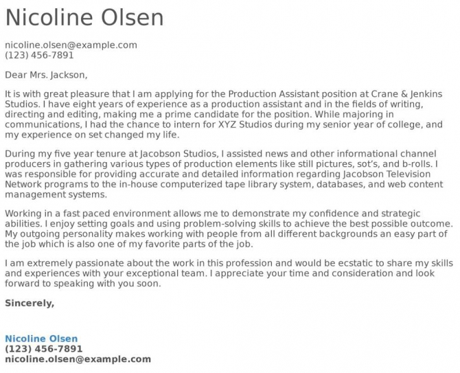 Production Assistant Cover Letter Examples  Samples   Templates