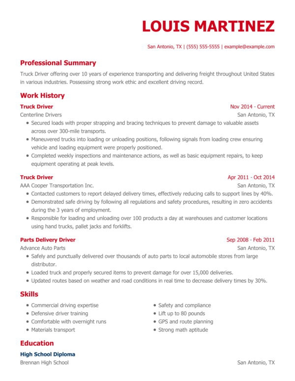 Professional Driving Resume Examples