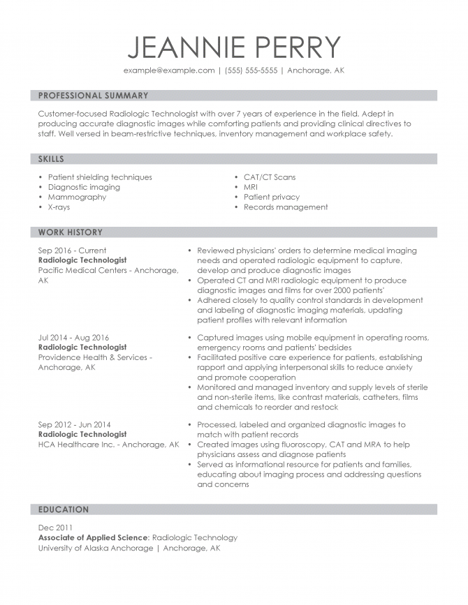 Professional Medical Resume Examples