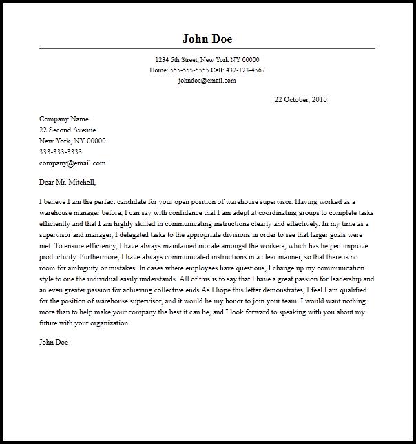 Professional Warehouse Supervisor Cover Letter Sample   Writing