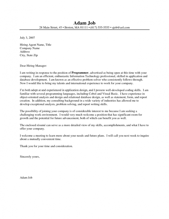 Programmer Cover Letter No Experience