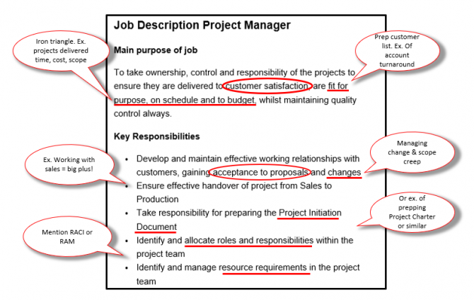 Project Manager Job Description Free Download With Applicant Notes