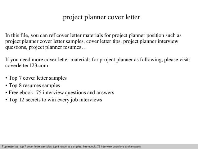 Project Planner Cover Letter