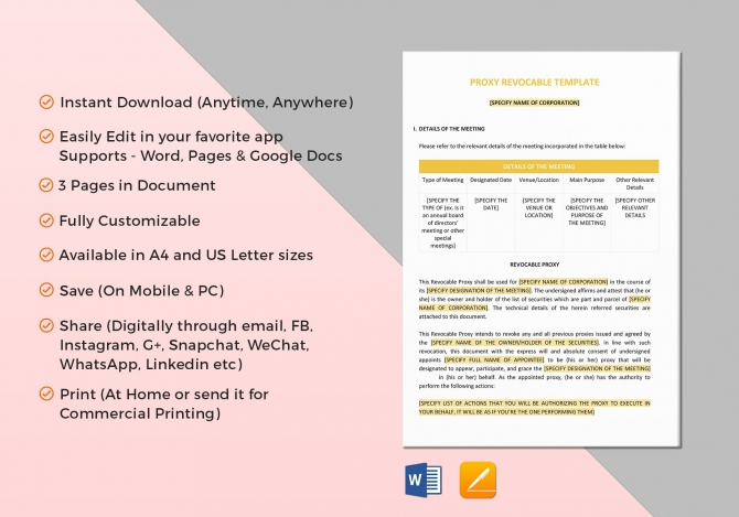 Proxy Revocable Template In Word  Google Docs  Apple Pages