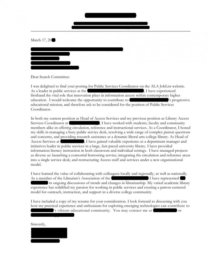 Public Services Coordinator Cover Letter