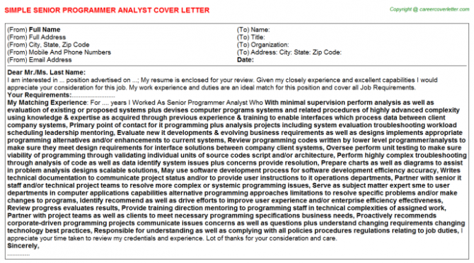 Python Programmer Cover Letters