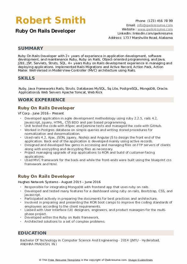 Rails Developer Resume Samples