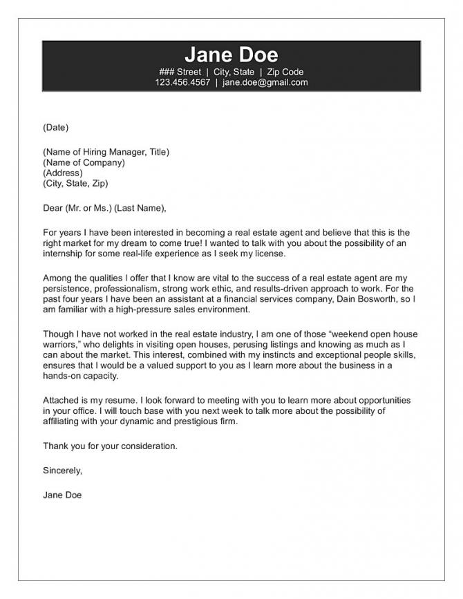 Real Estate Agent Cover Letter Sample
