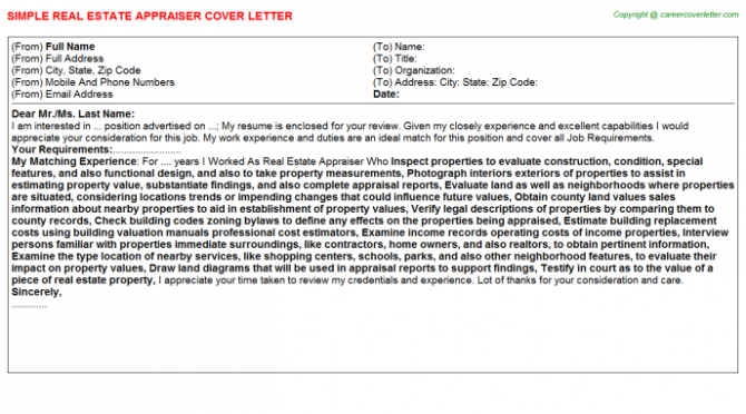 Real Estate Appraiser Cover Letters